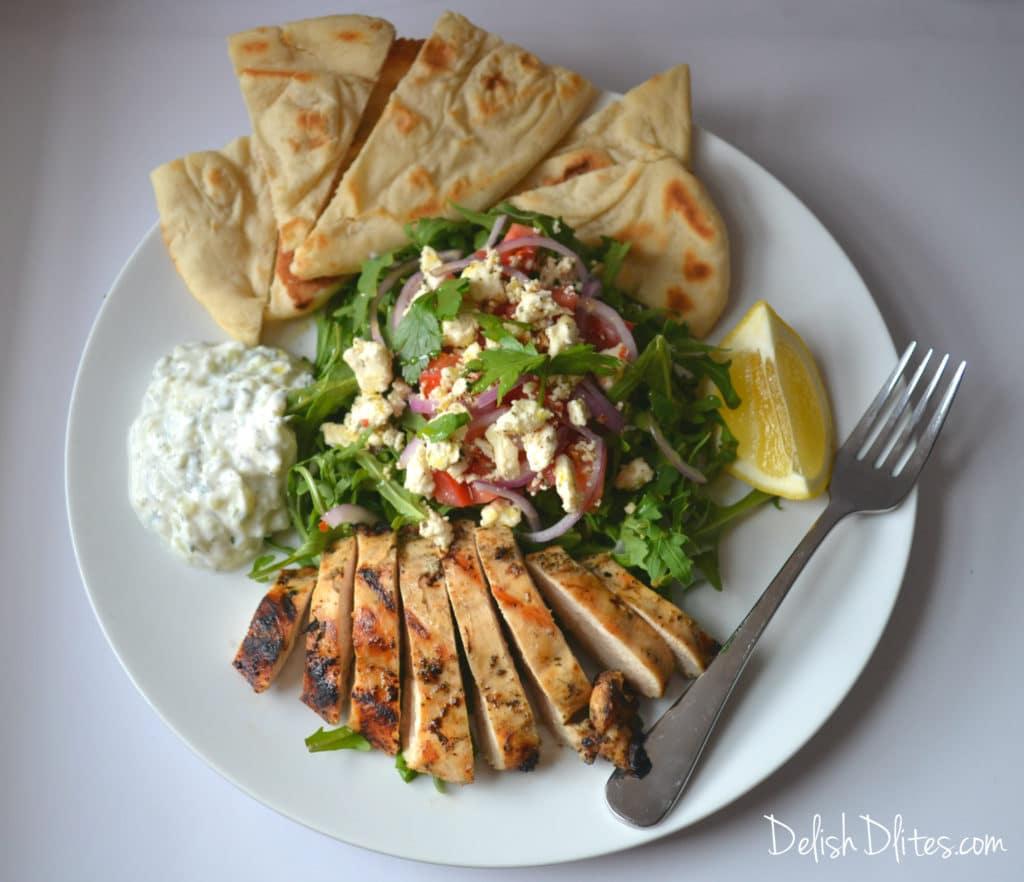 Deconstructed Grilled Chicken Gyro Salad   Delish D'Lites