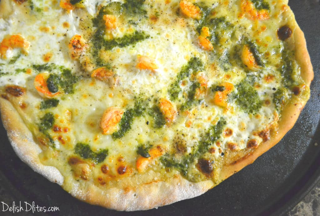 Shrimp Alfredo Pizza with Pesto | Delish D'Lites