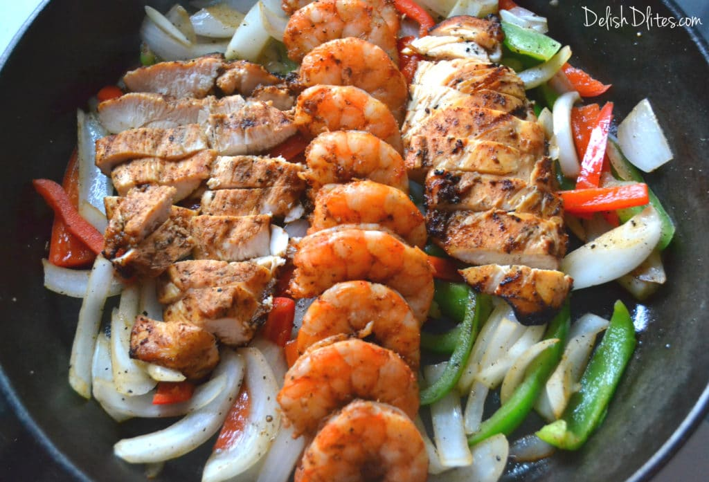 Chipotle Chicken and Shrimp Fajitas | Delish D'Lites