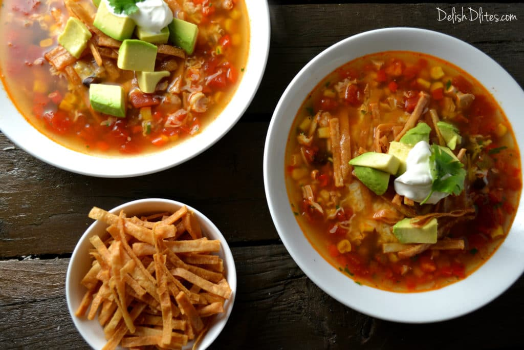 Slow Cooker Chicken Tortilla Soup | Delish DLites