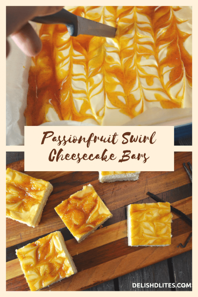 PASSIONFRUIT SWIRL CHEESECAKE BARS | Delish D'Lites