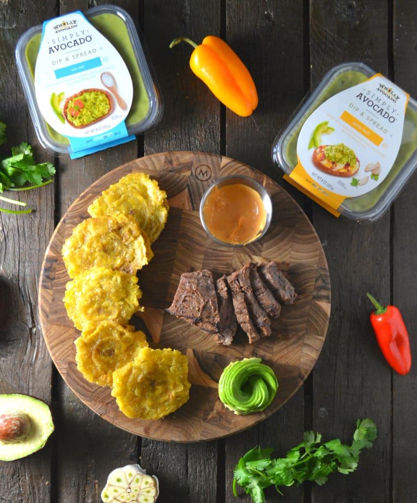 Avocado and Skirt Steak Tostones (Fried Green Plantains) | Delish D'Lites