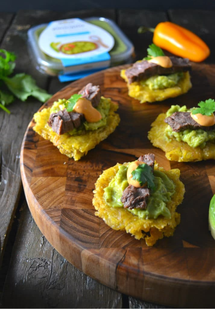 Skirt Steak & Guacamole Tostones | Delish D'Lites